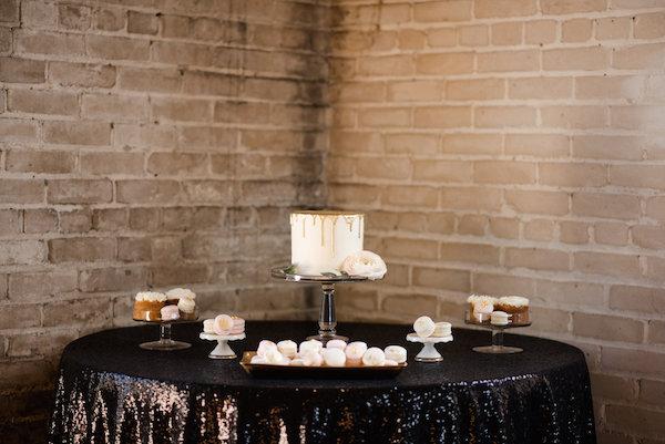 A dessert display at a Journeyman Distillery wedding
