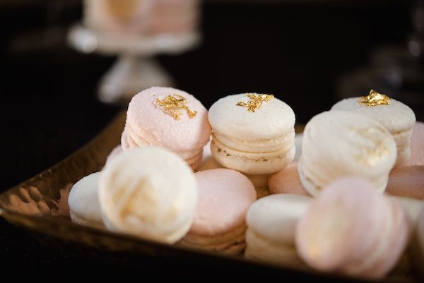 Blush and white macarons with gold leaf