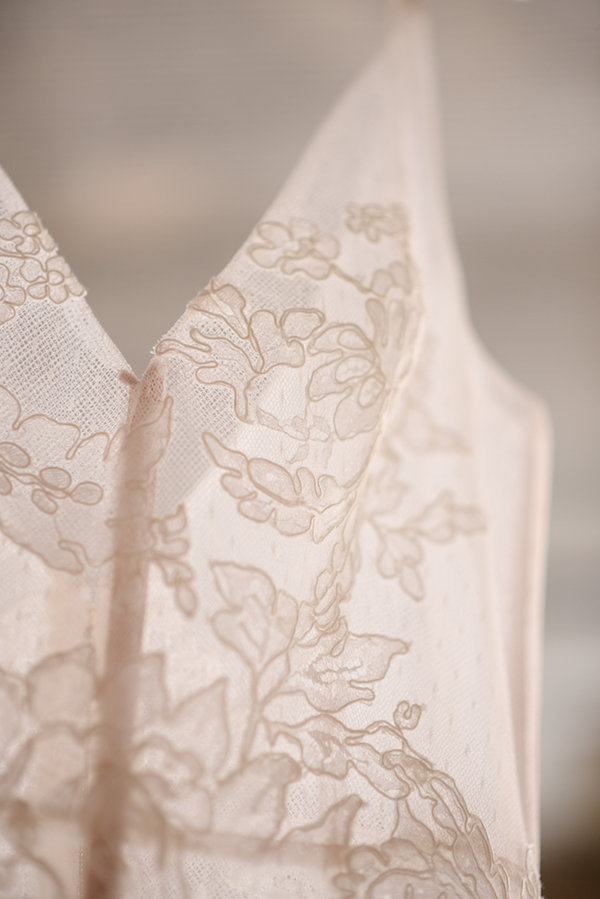 Beautiful lace details on a wedding gown