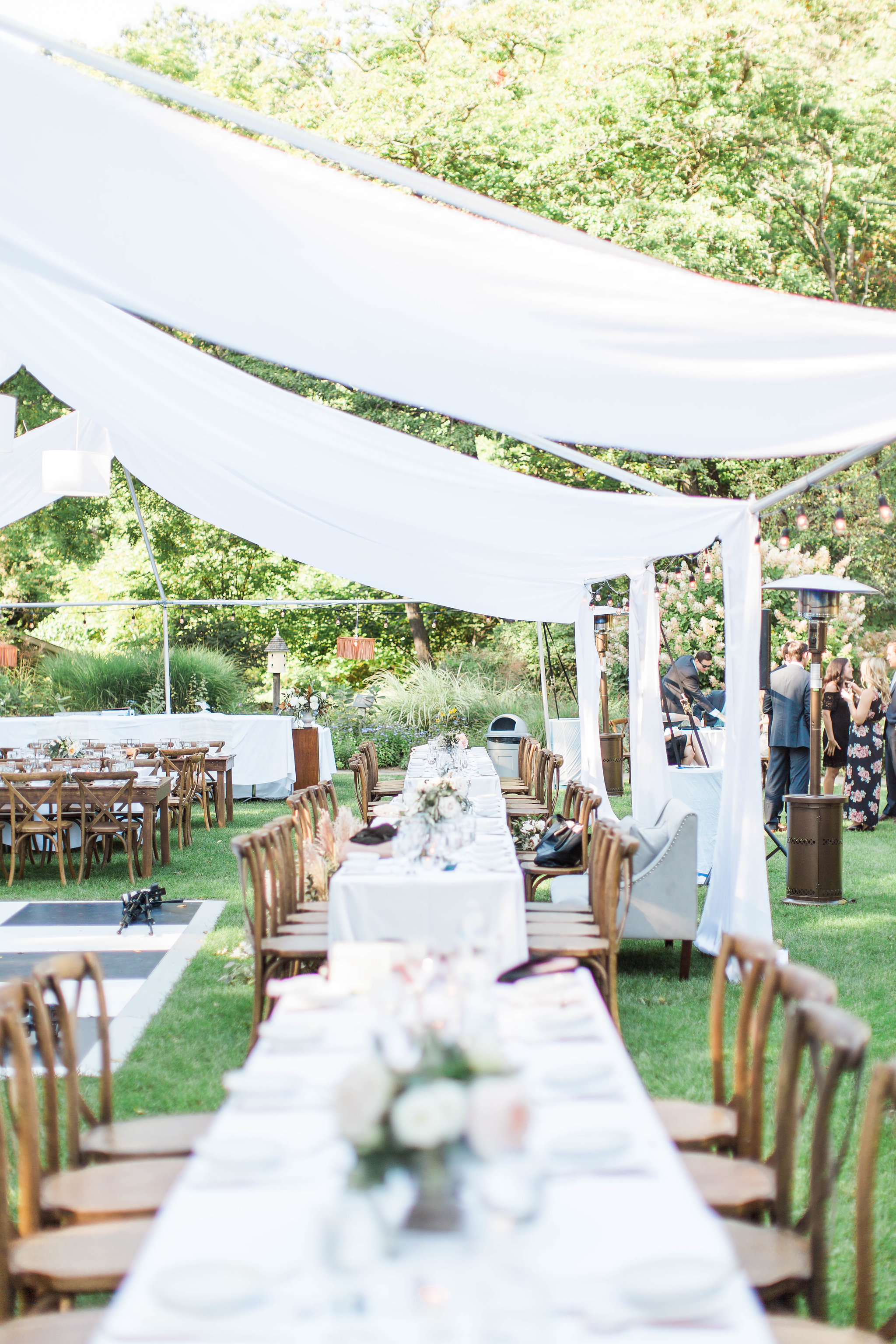 Fernwood Botanical Garden tented wedding reception