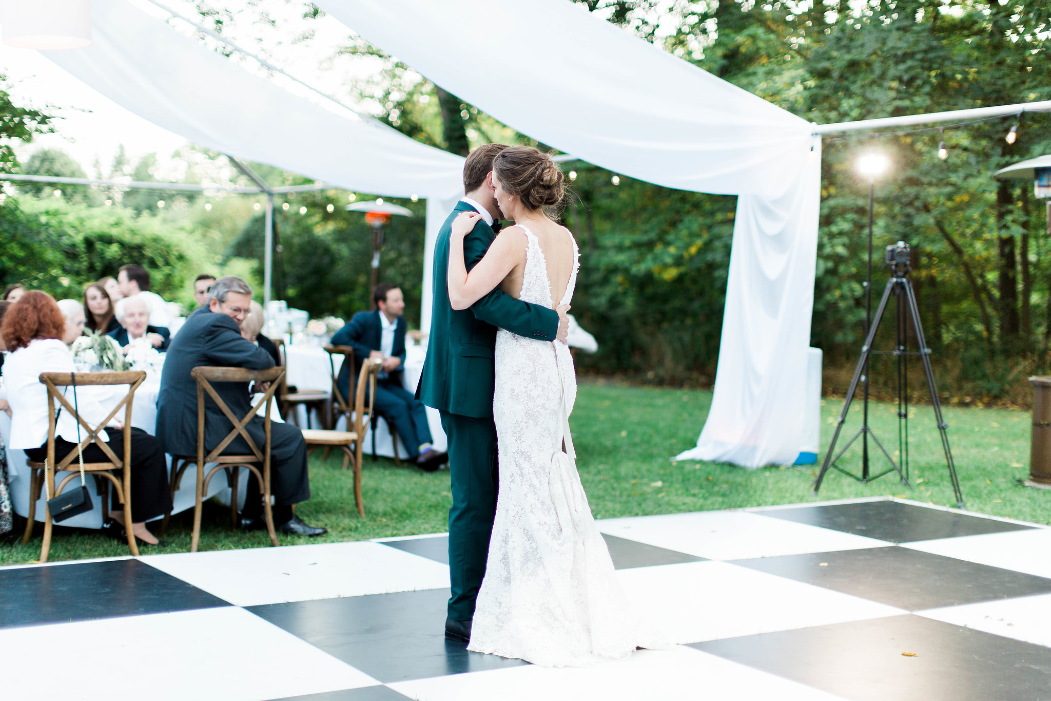Black and white checker outdoor dance floor