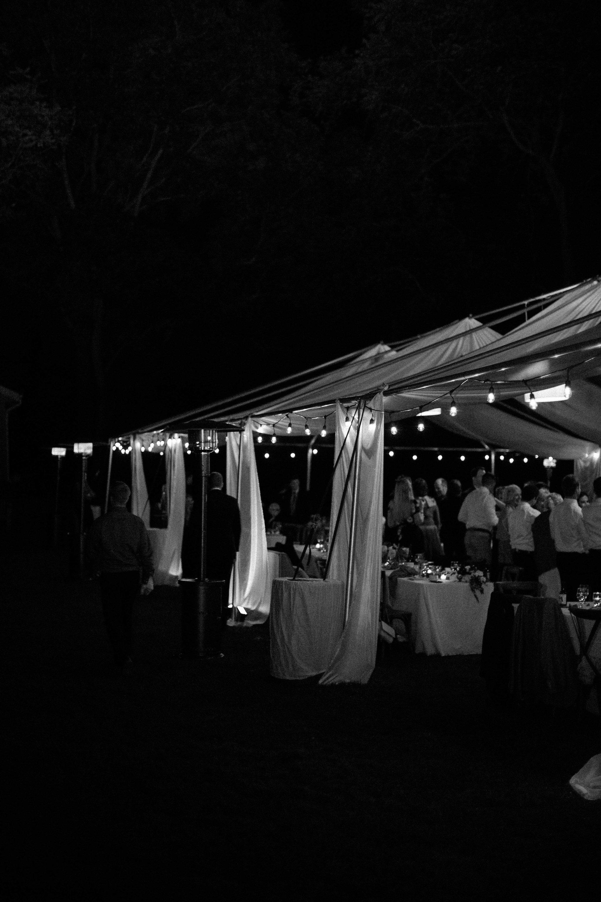 Wedding tent at night at Fernwood Botanical Garden and Nature Preserve