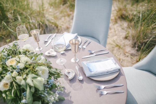 Sweetheart table setting with silver stemware