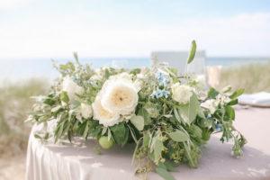 White garden roses in floral arrangement