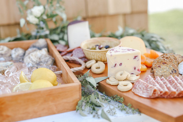 Oyster and charcuterie board appetizers at Lake Michigan wedding