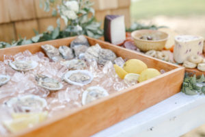 Oyster shell appetizers at Lake Michigan wedding