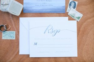 Watercolor RSVP card with vintage stamps