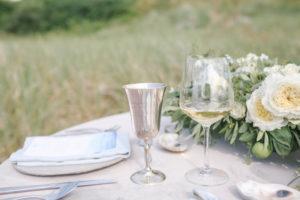 Silver stemware at Lake Michigan beach wedding