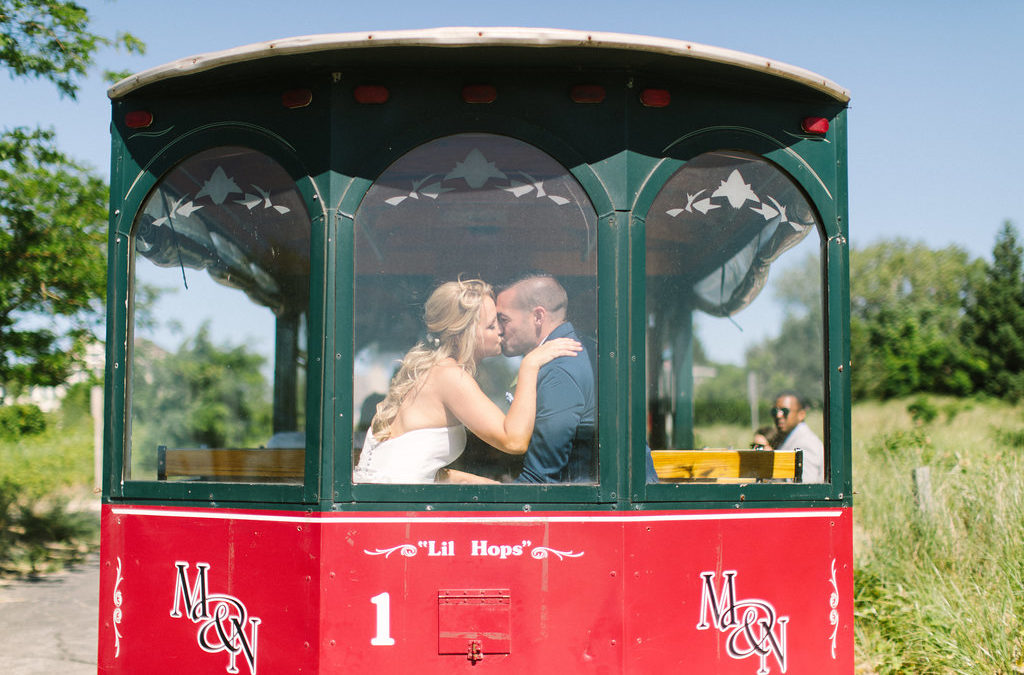 Couple kissing in the back of a trolley in Benton Harbor, Michigan