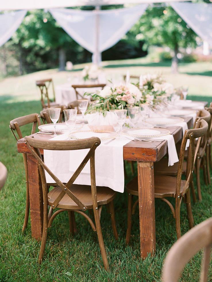 Rustic wedding seating at Ciccone Vineyard
