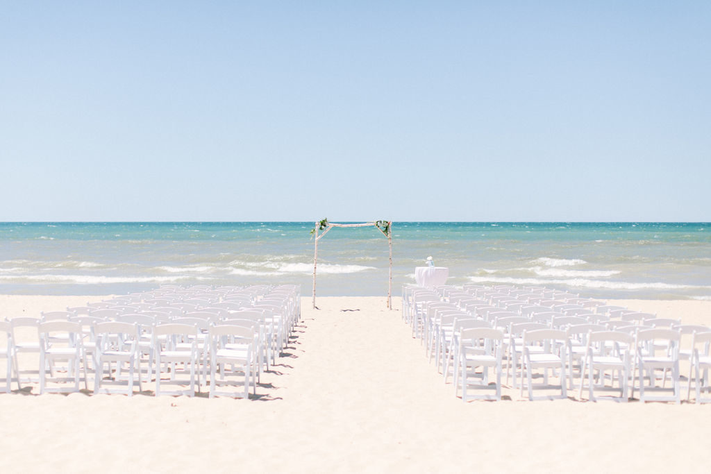 Ceremony wedding set up on Jean Klock Beach