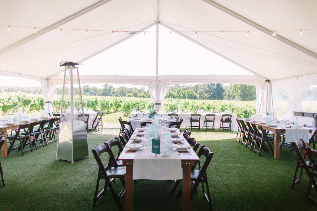 reception tent during a 12 corners vineyard wedding