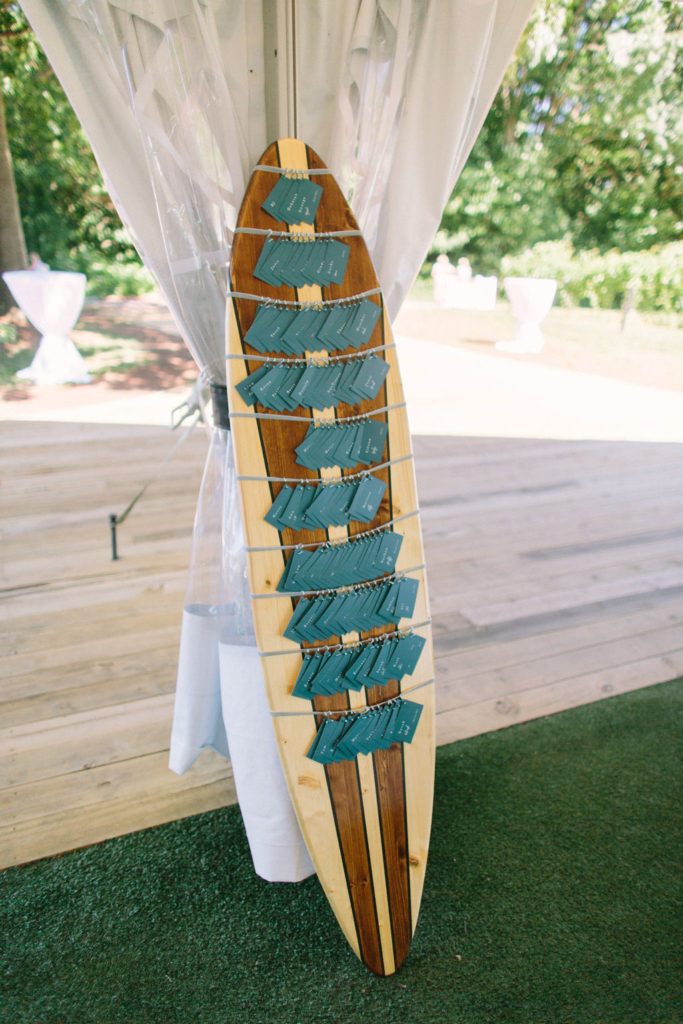 Surf board escort card display