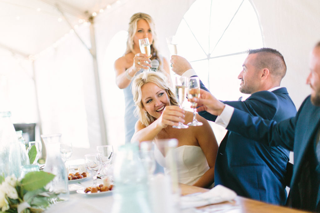 Newlyweds toasting during their 12 Corners Vineyard Wedding
