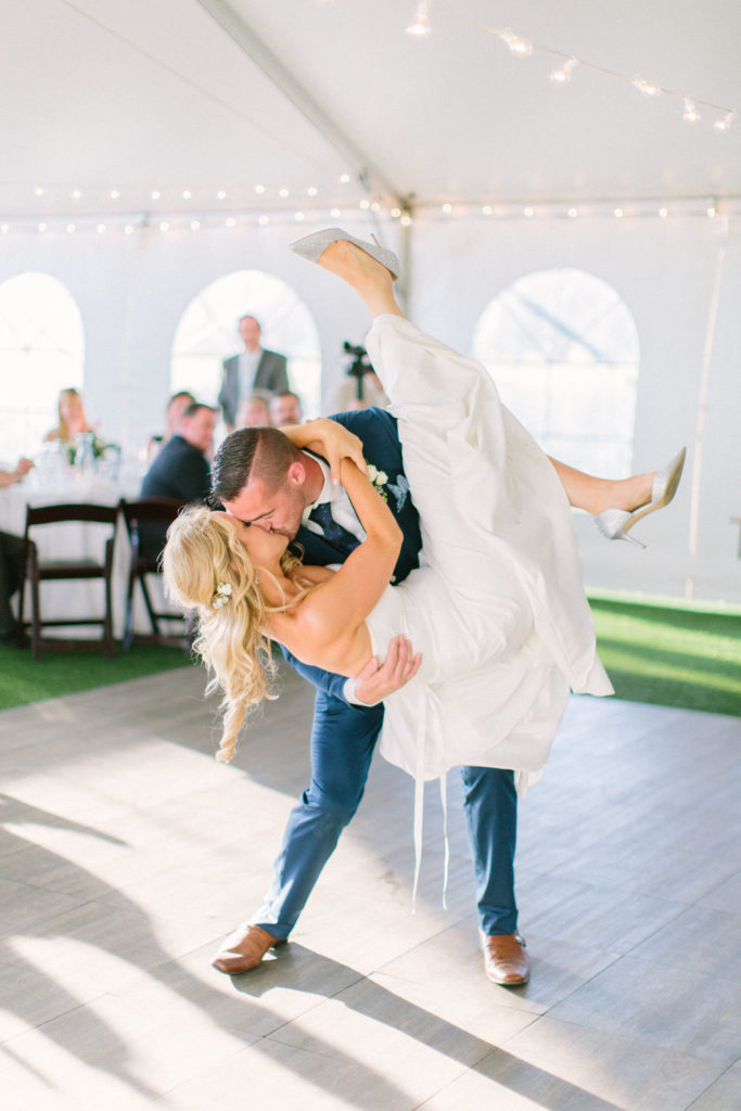 Couple shares their first dance as husband and wife at 12 Corners Vineyard Wedding