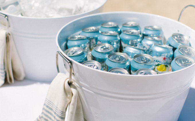 White Wedding bucket with cans