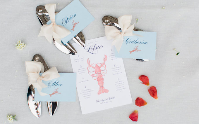 packing wedding decor favors and menus