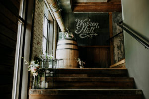 Entrance to Warren Hall at a Journeyman Distillery wedding
