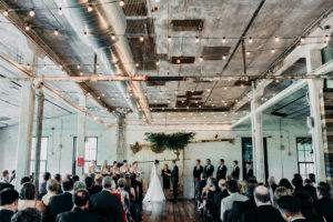 wedding ceremony at Journeyman Distillery