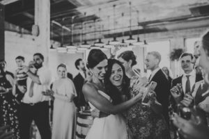 Bride smiling at a Journeyman Distillery wedding