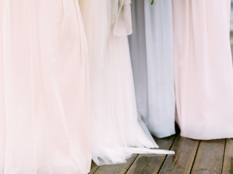 Blush and blue bridesmaids dresses