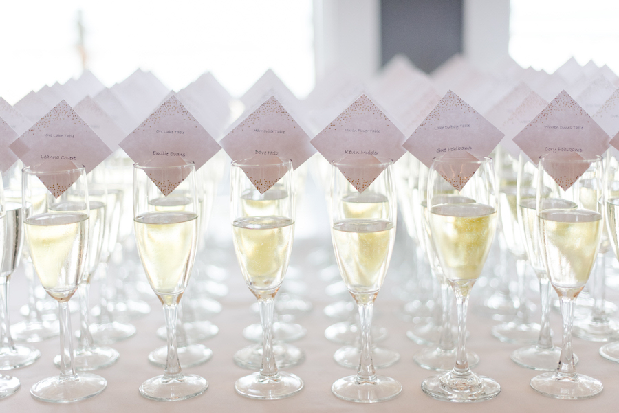 Champagne flute escort cards