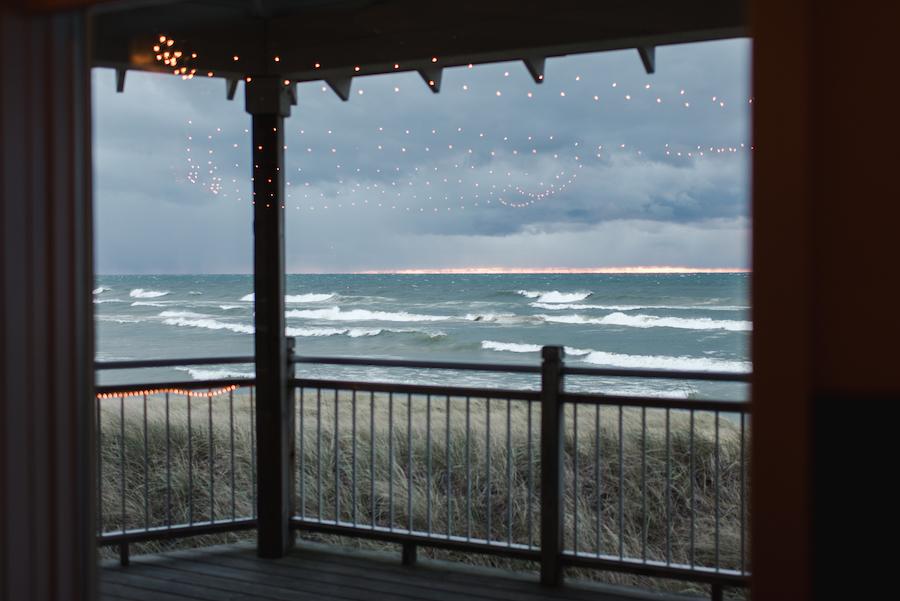Sunseting over Lake Michigan at Loeks Retreat Center wedding