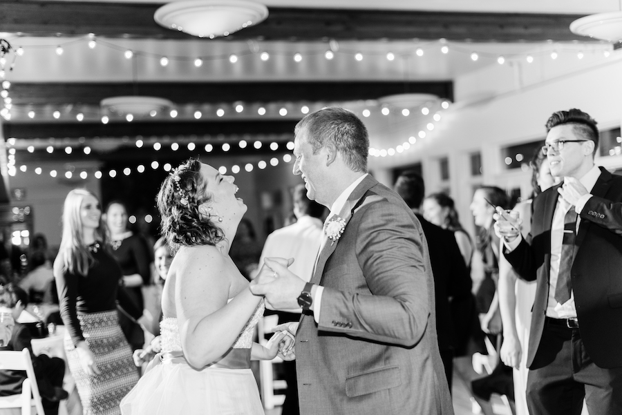 Bride and Groom dancing at their camp blodgett wedding