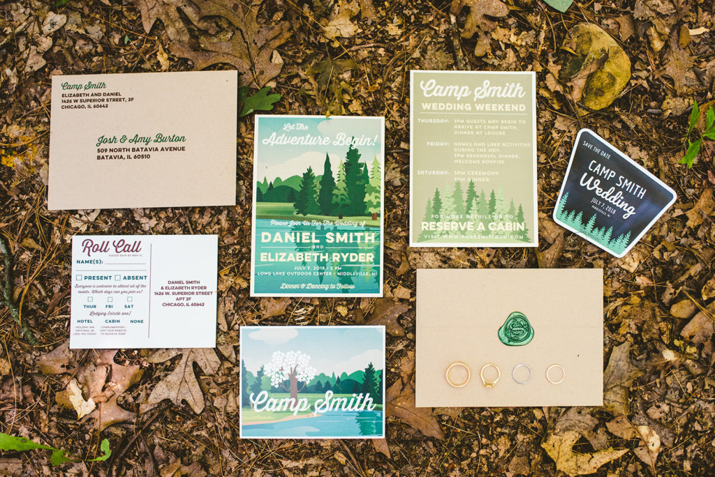 Wedding stationary from a Long Lake Outdoor Center Wedding