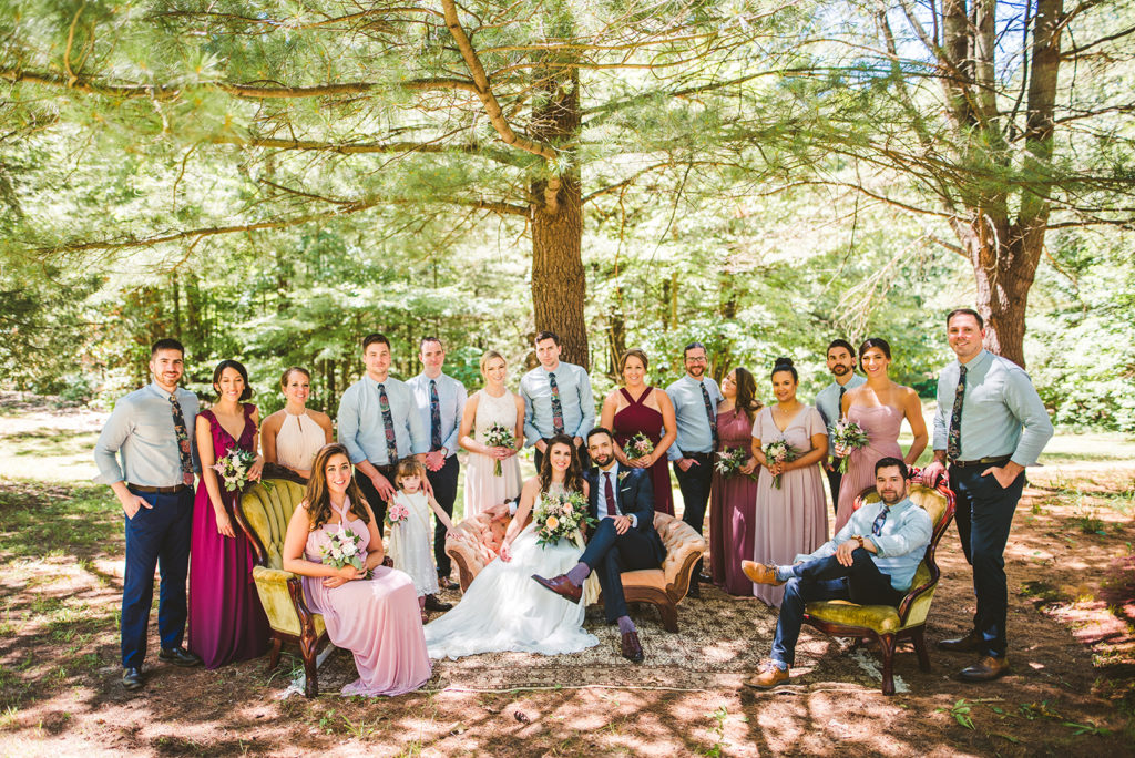 Bridal party smiling before a Long Lake Outdoor Center Wedding