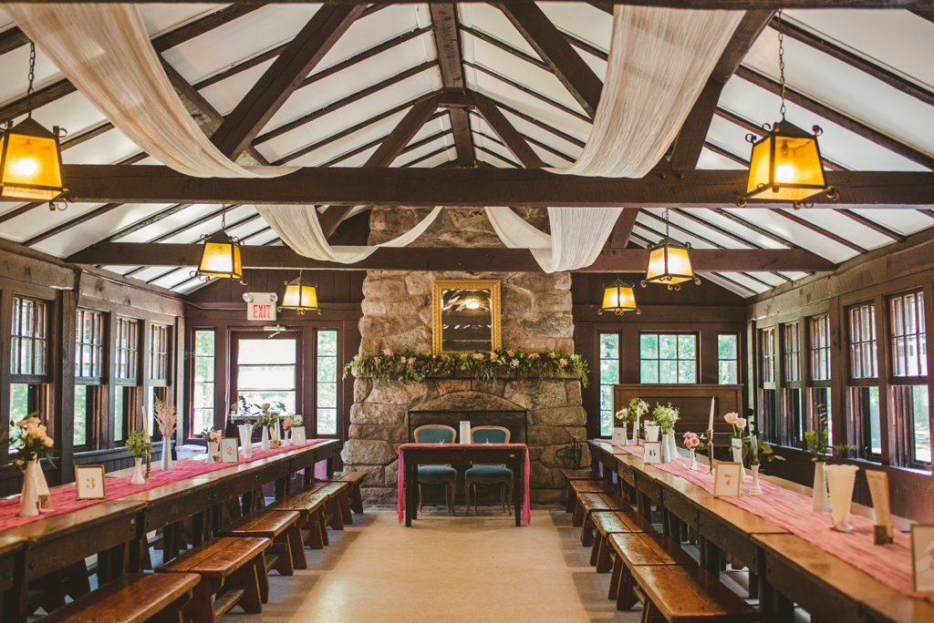 The Lodge decorated for a Long Lake Outdoor Center wedding