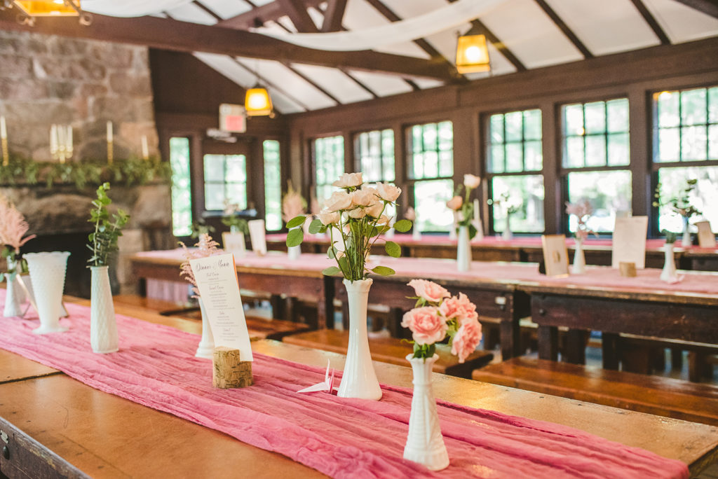 The Lodge decorated with flowers for a Long Lake Outdoor Center wedding