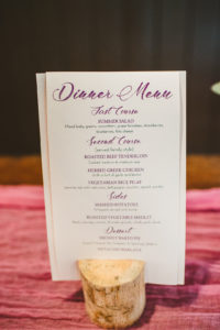 Purple calligraphy dinner menus