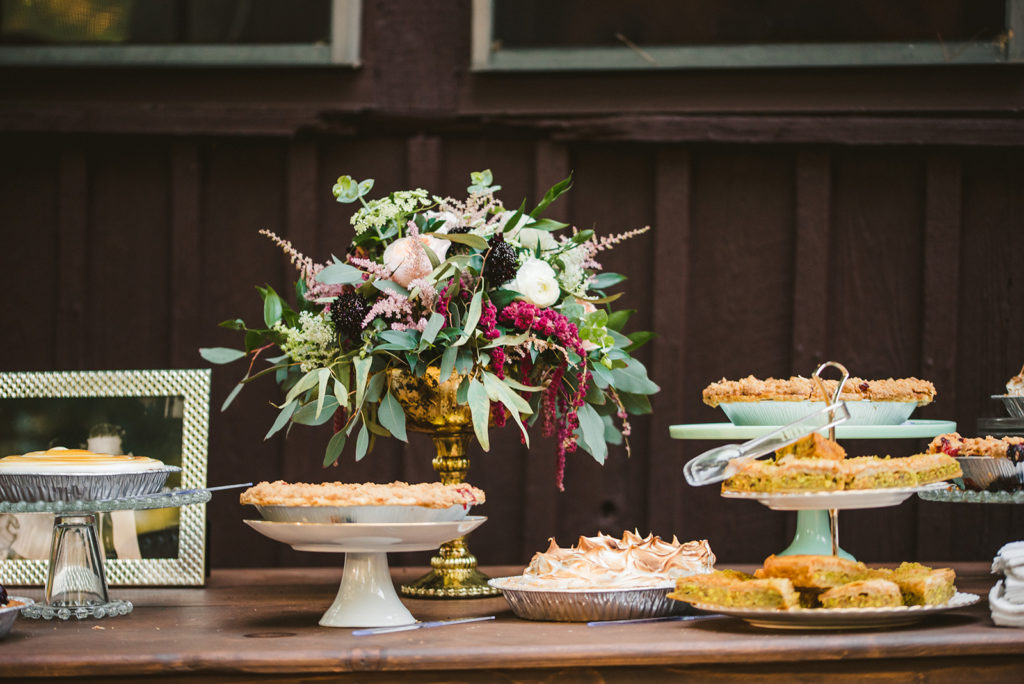 Pie dessert bar at a Long Lake Outdoor Center wedding