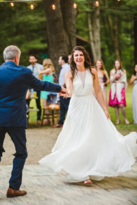 Bride and her father share a dance at a Long Lake Outdoor Center wedding