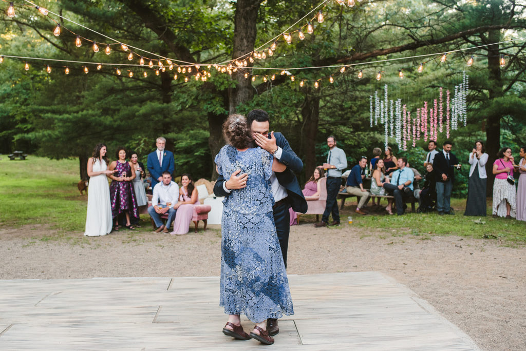 Groom and his mother share a dance at a Long Lake Outdoor Center wedding