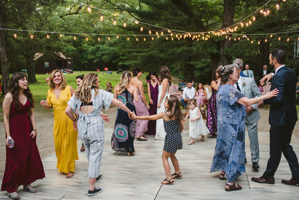 Guests dancing during a Long Lake Outdoor Center wedding