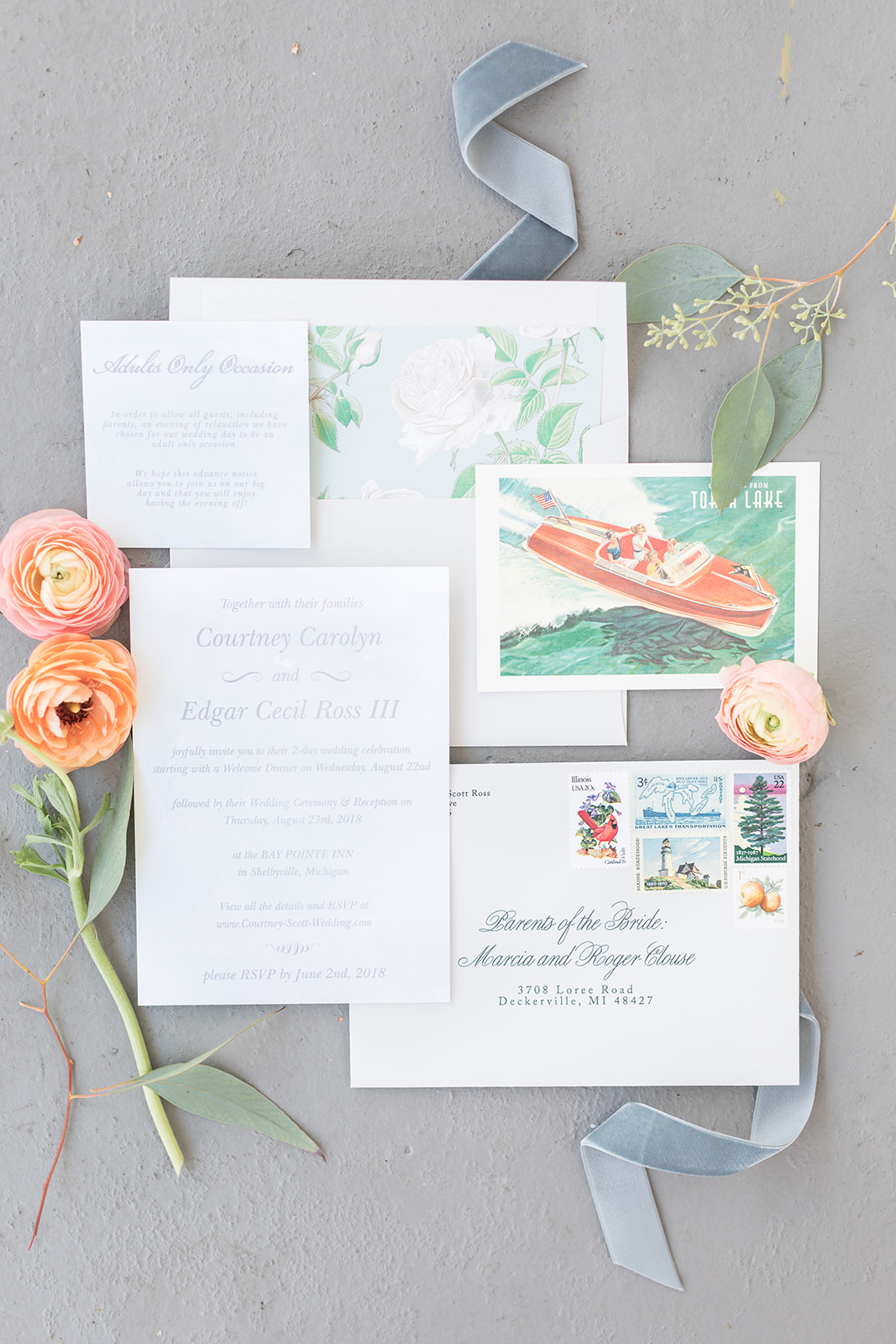 Lake wedding themed invitation suite