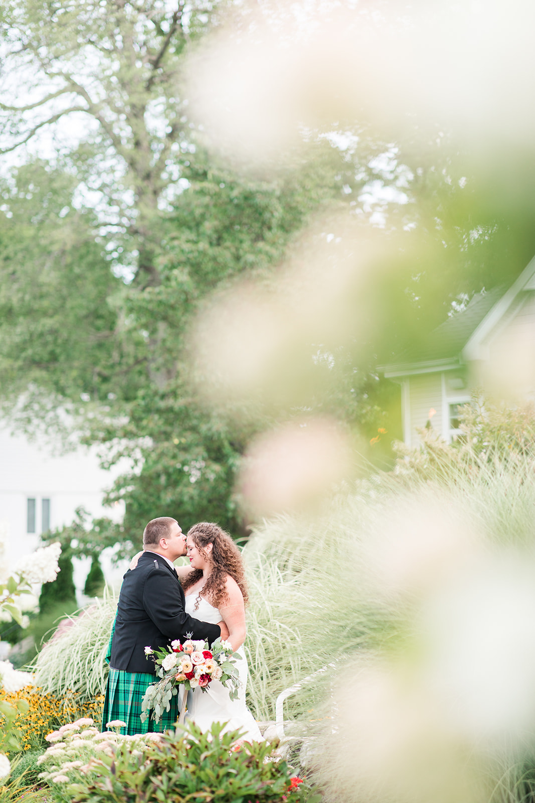 Bride and groom share their first look before their Shelbyville, Michigan wedding