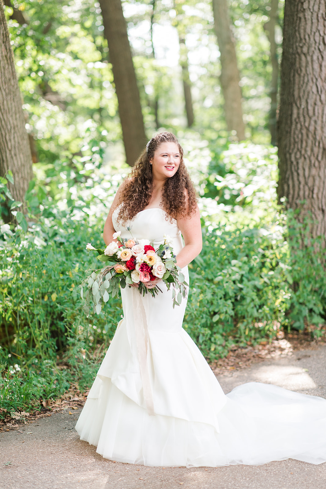 Bride smiling before her Shelbyville, Michigan wedding