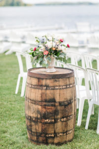 Ceremony set for a Bay Pointe Inn wedding in Shelbyville, Michigan