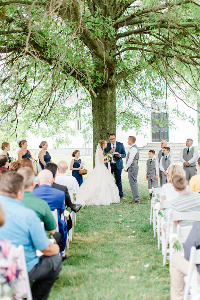 Outdoor wedding ceremony at the felt mansion
