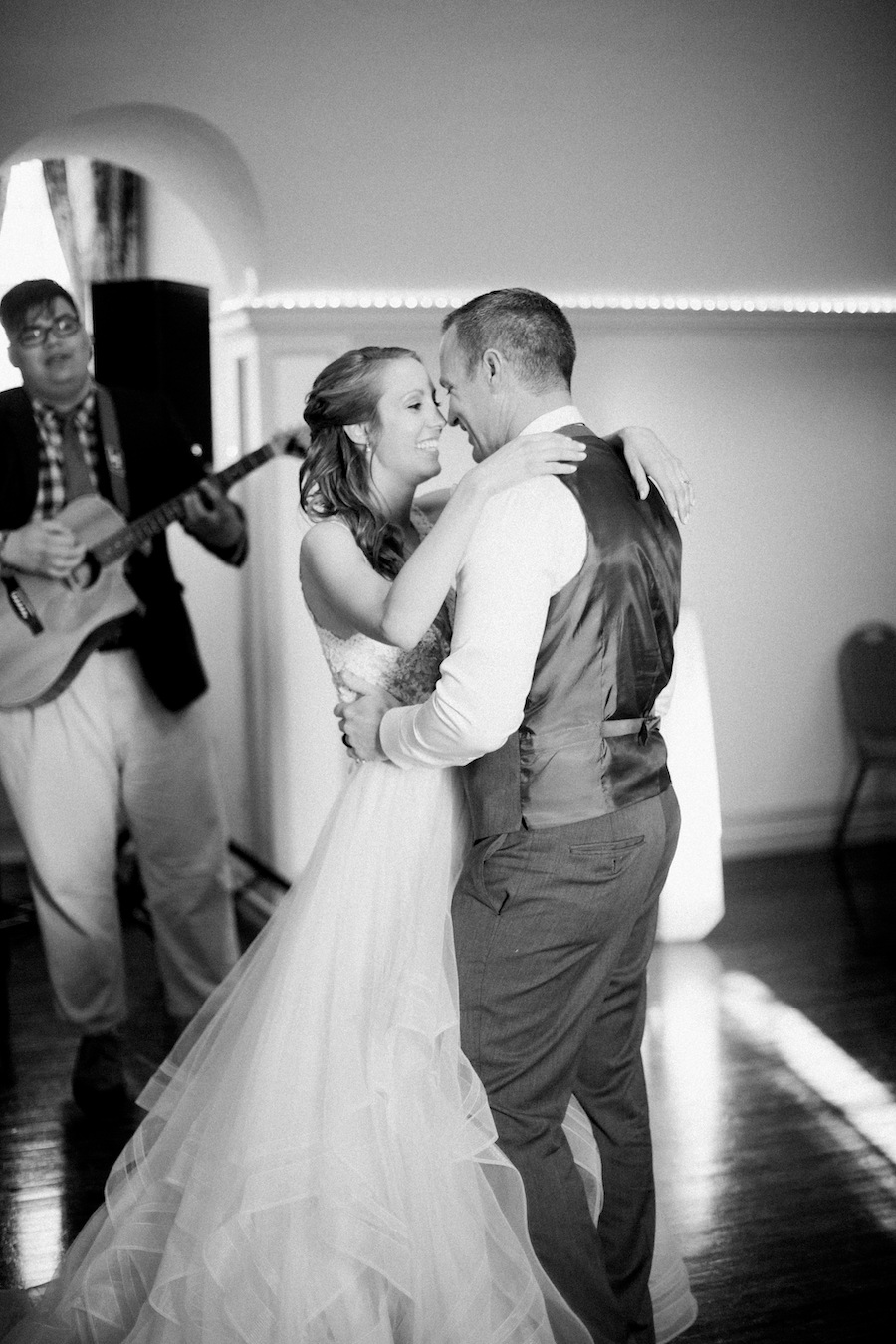 Bride and groom sharing their first dance