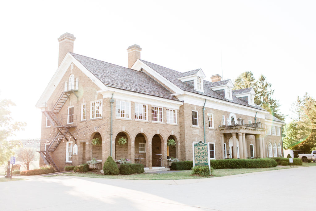 The exterior of the building during a felt mansion wedding