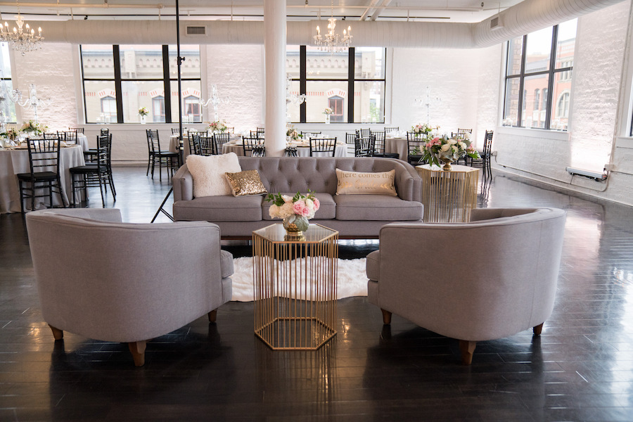 A soft seating section at a Loft 310 wedding