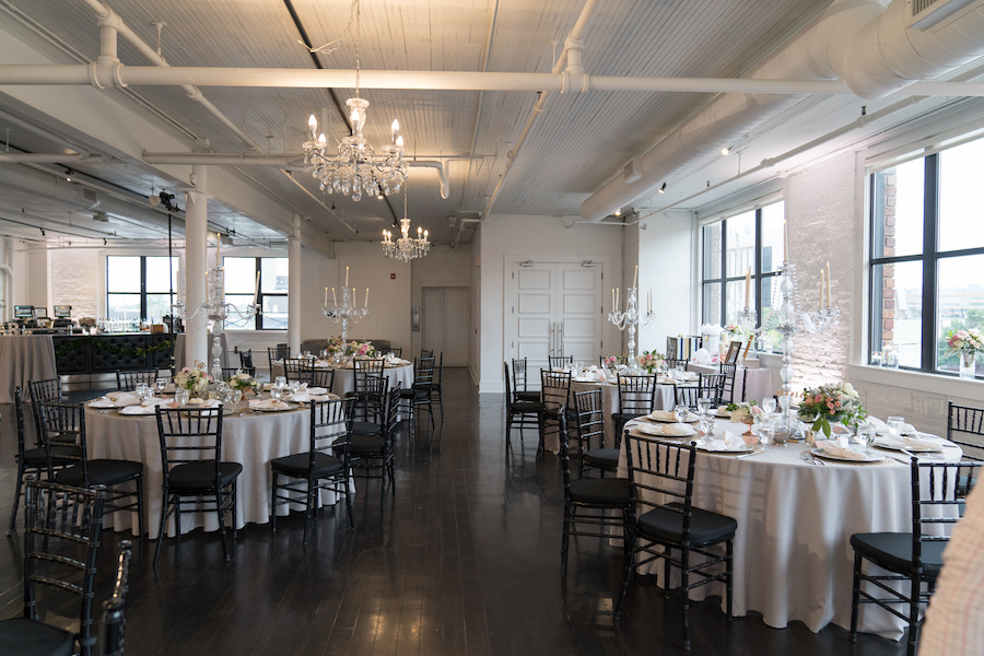 A reception space set for a Loft 310 wedding