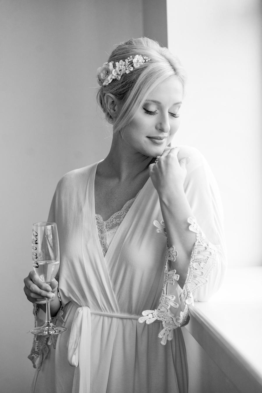 A bride getting ready the morning of her wedding