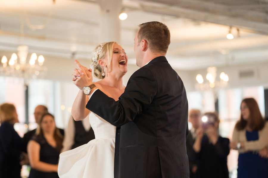 A bride and groom sharing their first dance during their Loft 310 wedding