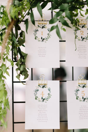 A industrial escort card display with wild greenery