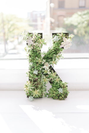 A succulent letter during a Loft 310 wedding in Kalamazoo, Michigan